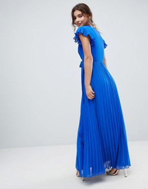 photo Pleated Maxi Dress with Flutter Sleeve by ASOS, color Cobalt Blue - Image 2