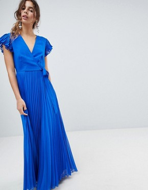 photo Pleated Maxi Dress with Flutter Sleeve by ASOS, color Cobalt Blue - Image 1