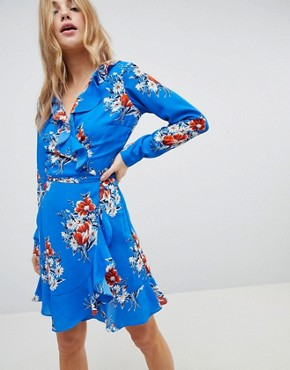 photo Ruffle Wrap Mini Dress in Blue Floral Print by ASOS, color Multi - Image 1