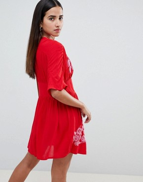 photo Embroidered Casual Mini Tea Dress with Button Through by ASOS, color Red - Image 2