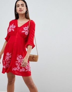 photo Embroidered Casual Mini Tea Dress with Button Through by ASOS, color Red - Image 1