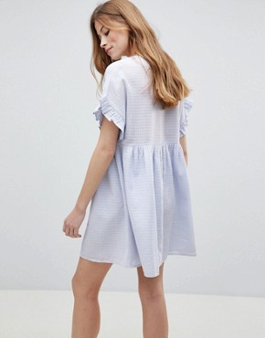 photo Casual Mini Smock Dress in Grid Texture with Bunny Tie by ASOS, color Pale Blue - Image 2