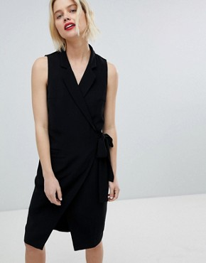 photo Tuxedo Dress with Side Tie by Paisie, color Black - Image 1