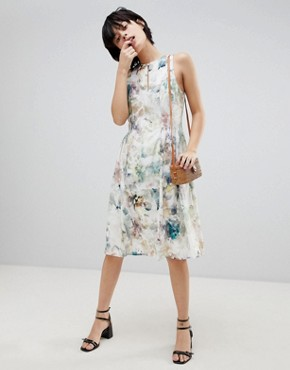 photo Floral Keyhole Dress with Gathered Waist by Paisie, color Multi Floral - Image 1