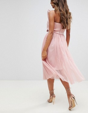 photo Scuba Bow Front Tulle Midi Dress by ASOS PREMIUM, color Pink - Image 2