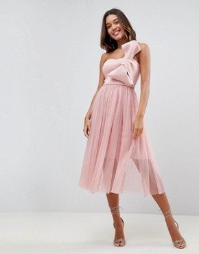 photo Scuba Bow Front Tulle Midi Dress by ASOS PREMIUM, color Pink - Image 1