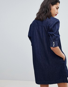 photo Heart Neck Denim Dress by Vivienne Westwood Anglomania, color Blue - Image 2