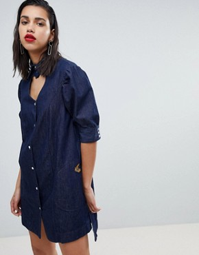 photo Heart Neck Denim Dress by Vivienne Westwood Anglomania, color Blue - Image 1