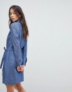 photo Tie Waist Denim Shirt Dress by Oasis, color Denim - Image 2