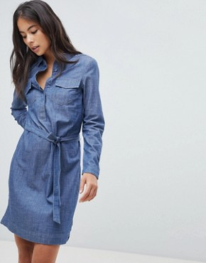 photo Tie Waist Denim Shirt Dress by Oasis, color Denim - Image 1