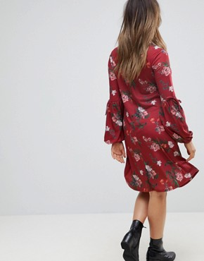 photo Midi Dress with Sleeve Detail in Dark Floral by Bluebelle Maternity, color Burgundy Multi - Image 2
