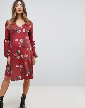 photo Midi Dress with Sleeve Detail in Dark Floral by Bluebelle Maternity, color Burgundy Multi - Image 1