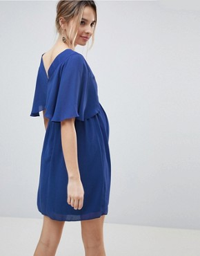 photo Flutter Sleeve Cross Over Mini Dress by ASOS Maternity, color Blue - Image 2