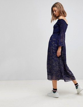 photo Foiled Off Shoulder Midi Dress by Free People, color Blue Combo - Image 2