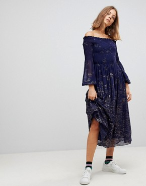 photo Foiled Off Shoulder Midi Dress by Free People, color Blue Combo - Image 1
