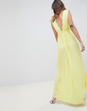 photo Lace Insert Pleated Maxi Dress by ASOS DESIGN Premium, color Yellow - Image 2