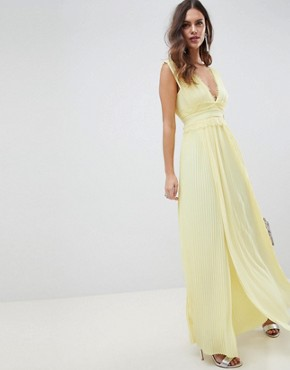 photo Lace Insert Pleated Maxi Dress by ASOS DESIGN Premium, color Yellow - Image 1