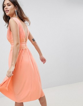 photo Lace Insert Pleated Midi Dress by ASOS DESIGN Premium, color Papaya - Image 2