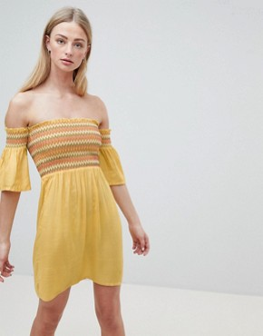 photo Sunny Bardot Dress with Multi-Colour Shirring by Brave Soul, color Yellow - Image 1