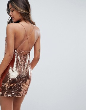 photo Embellished Sequin Cami Mini Dress by ASOS, color Rose Gold - Image 2