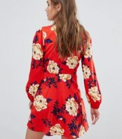 photo Frill Skater Shirt Dress in Floral Print by Influence, color Red - Image 2