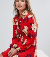 photo Frill Skater Shirt Dress in Floral Print by Influence, color Red - Image 1