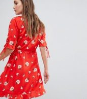 photo Ruffle Front Floral Wrap Dress by Influence, color Red - Image 2