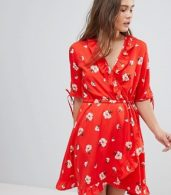 photo Ruffle Front Floral Wrap Dress by Influence, color Red - Image 1