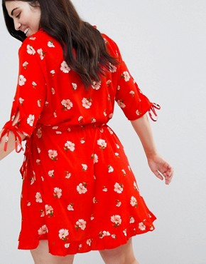 photo Ruffle Front Floral Wrap Dress by Influence Plus, color Red - Image 2