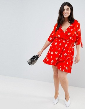 photo Ruffle Front Floral Wrap Dress by Influence Plus, color Red - Image 4
