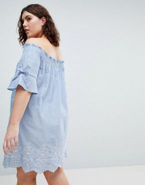 photo Shirred Sleeve Bardot Dress with Embroiderry Detail by Influence Plus, color Blue - Image 2