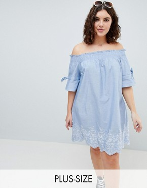 photo Shirred Sleeve Bardot Dress with Embroiderry Detail by Influence Plus, color Blue - Image 1