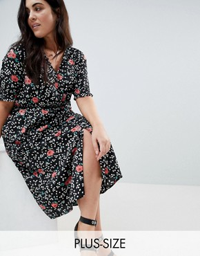 photo Shirred Sleeve Floral Midi Dress by Influence Plus, color Black - Image 1
