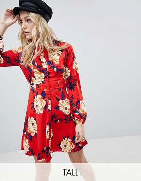 photo Frill Skater Shirt Dress in Floral Print by Influence Tall, color Red - Image 1