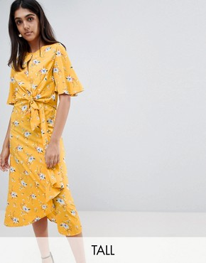 photo Tie Front Midi Dress in Floral Print by Influence Tall, color Mustard - Image 1
