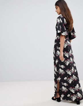 photo Kimono Sleeve Floral Maxi Dress by Influence Tall, color Black - Image 2