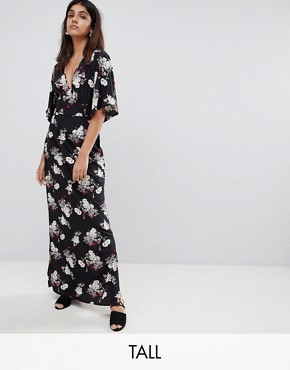 photo Kimono Sleeve Floral Maxi Dress by Influence Tall, color Black - Image 1