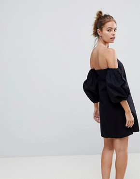 photo Cotton Off Shoulder Mini Dress by ASOS DESIGN Petite, color Black - Image 2