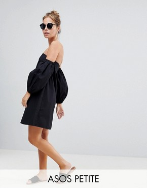 photo Cotton Off Shoulder Mini Dress by ASOS DESIGN Petite, color Black - Image 1