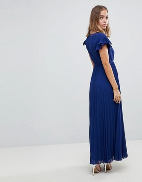 photo Pleated Maxi Dress with Flutter Sleeve by ASOS PETITE, color Navy - Image 2