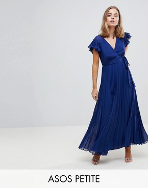 photo Pleated Maxi Dress with Flutter Sleeve by ASOS PETITE, color Navy - Image 1