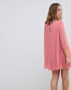 photo Pleated Trapeze Mini Dress by ASOS PETITE, color Pink - Image 2