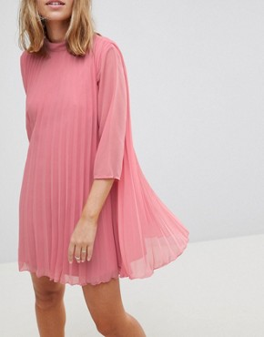 photo Pleated Trapeze Mini Dress by ASOS PETITE, color Pink - Image 3