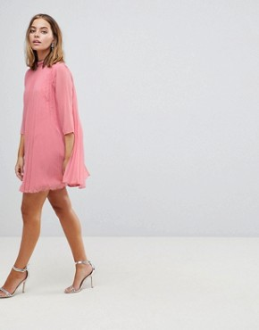 photo Pleated Trapeze Mini Dress by ASOS PETITE, color Pink - Image 4