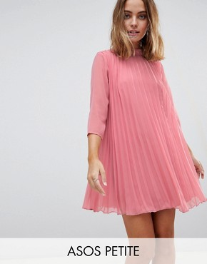 photo Pleated Trapeze Mini Dress by ASOS PETITE, color Pink - Image 1