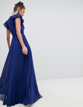 photo Pleated Maxi Dress with Flutter Sleeve by ASOS TALL, color Navy - Image 2