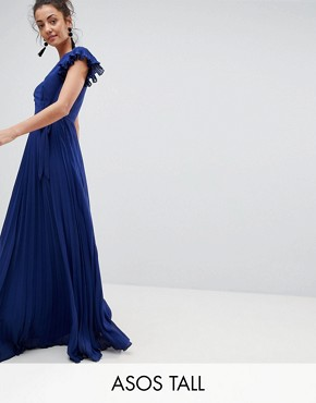photo Pleated Maxi Dress with Flutter Sleeve by ASOS TALL, color Navy - Image 1