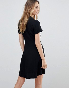 photo Button Through Mini Skater Dress by ASOS TALL, color Black - Image 2