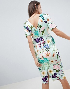 photo Maternity Wiggle Midi Dress in Floral Print by ASOS DESIGN, color Multi - Image 2