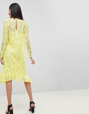 photo Lace Midi Swing Dress with Ruffle Hem by ASOS DESIGN Tall, color Yellow - Image 2